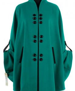 01-4972 Пальто женское демисезонное Кашемир Изумруд