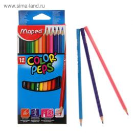 Карандаши Maped трехгранные 12 цветов Color Peps