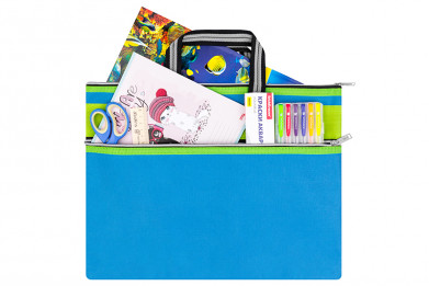 "Папка-сумка с ручками 39*29,5*0,6 см ""Синяя"" на молнии"