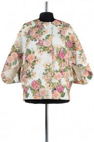 Пальто летнее Жаккард Белый с цветами