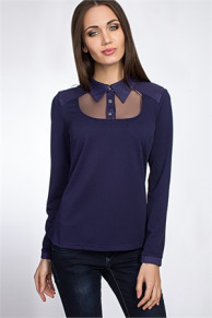 Блуза #0384a (Синий)