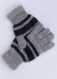 Перчатки из шерсти в полоску серый, Монголия