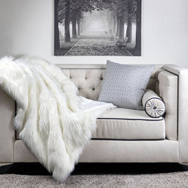 Homey Cozy Faux Fur and Flannel Throw Blanket 127x150