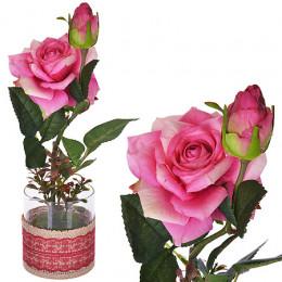 6090-NT Дек/цветы Бордовая роза в ст/вазе(х24)