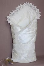 Конверт-одеяло на выписку из роддома с кружевом