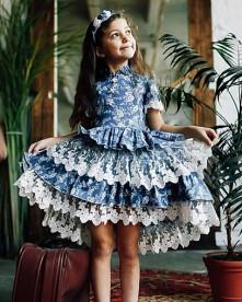 """Платье с подъюбником для девочки """"Джинс-цветы"""""""