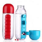 Бутылка с органайзером для витаминов и лекарств 600 мл