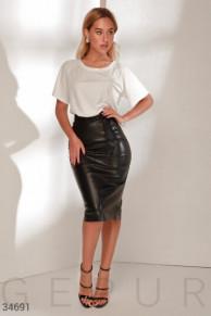 Кожаная юбка-миди Gepur