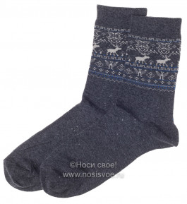 Н434/2 Мужские носки (т.серый/ голубой)