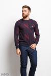 Мужской пуловер 16565 бордовый принт