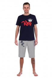 Спортивный костюм с шортами King (697). Расцветка: темно-син