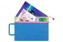"""Папка-сумка с ручкой 38*27*0,6 см """"Синяя с зеленой вставкой"""""""