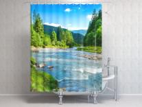 Фотоштора для ванной Горная река 2