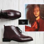 Ботинки на шнуровке из кожи бордо. Collection AW 20/21