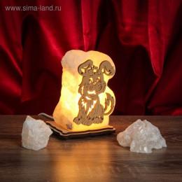"""Соляной светильник """"Собака"""" малый 13х9х6 см, деревянное осно"""