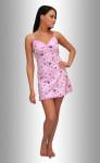 """Ночная сорочка """"Сердца-газетка малиновые на розовом"""