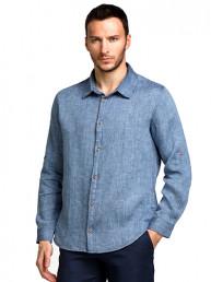 Мужские льняные рубашки БАТАЛ меланж джинс (д/рукав)