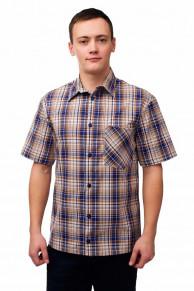 Мужская рубашка шотландка, короткий рукав 1 карман
