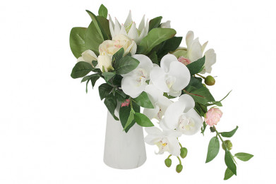 Декоративные цветы Букет орхидея белая и гортензии в керамич