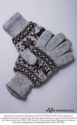 """Перчатки из шерсти """"Як"""" серый с рисунком, Монголия"""