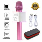 Беспроводной караоке микрофон Q9, розовый