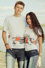 Парные футболки белые с рисунком «Скамейка»