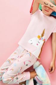 Pembe Kız Çocuk Unicorn 4 Lü Pijama Takımı