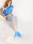 Одеяло-русалка омбре белый-голубой