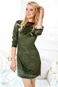 Приталенное замшевое платье