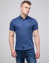 Молодежная рубашка Semco трендовая синяя модель 10442 8477