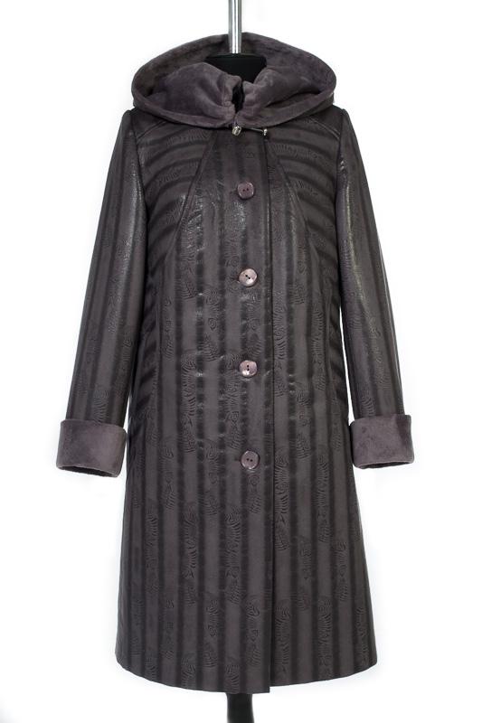 Пальто женское утепленное Дубленка Серый