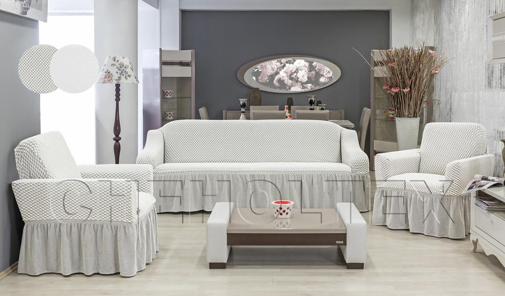 Чехол ЁЛОЧКА на 3-х местный диван с юбочкой