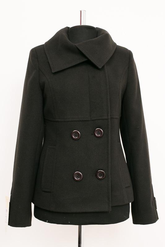 01-2014 Пальто женское демисезонное Кашемир Черный