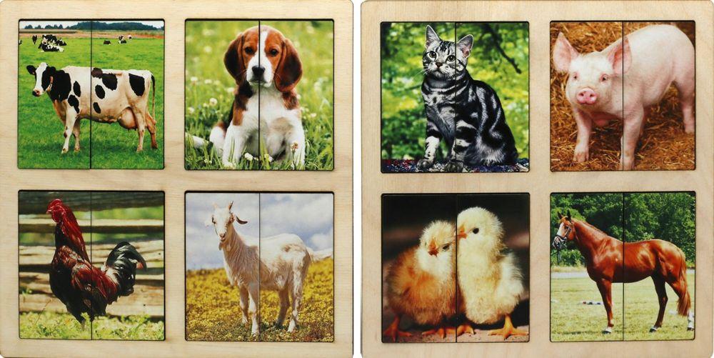 Картинки-половинки Домашние животные (2 планшета)