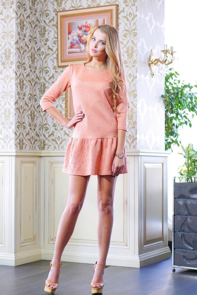 Платье с оборкой ФЛЕР темно-розовое