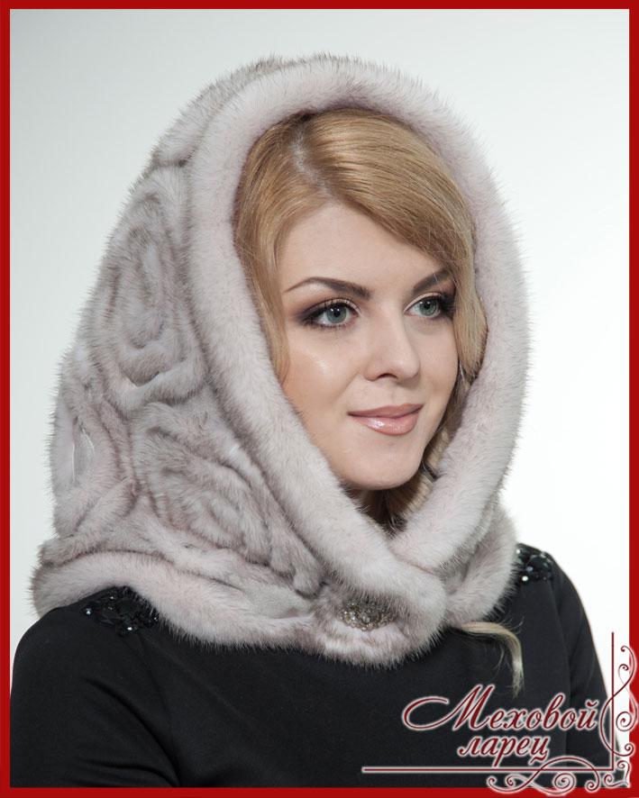 Капор «зима» из норкового меха позволяет создать запоминающийся и стильный женский образ.