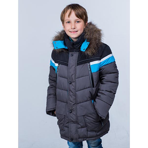 Куртка зимняя  8716 Пралеска серый/бирюза(Беларусь)
