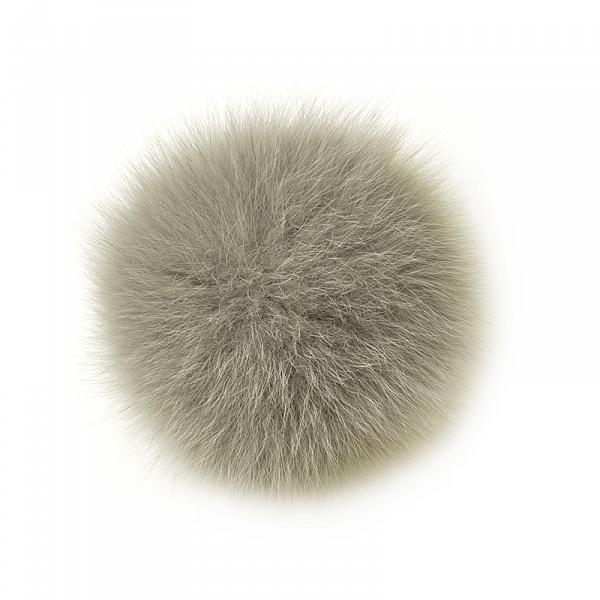 Помпон натуральный арт.PNP024 Песец 10см цв.серый