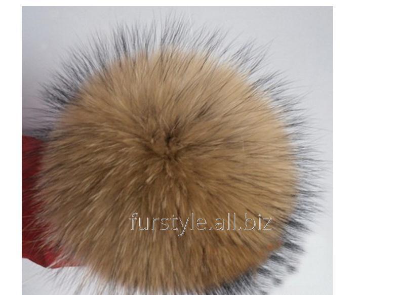 Помпон натуральный арт.PNP023 Песец 10см цв.песочный