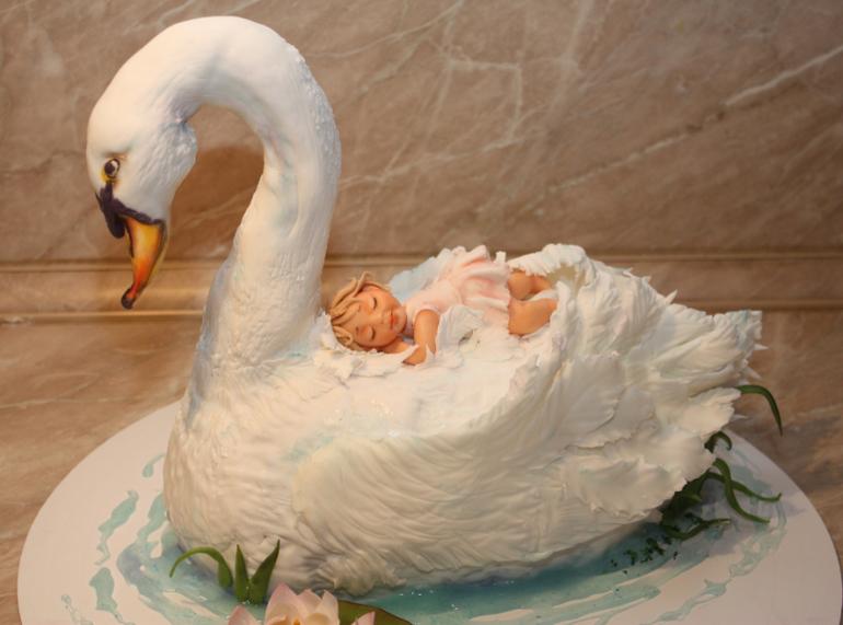 Торт лебедь фото