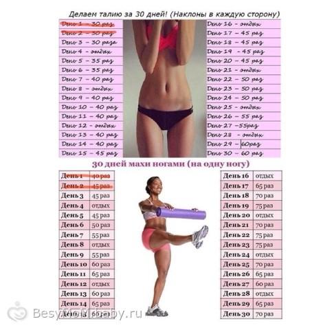 Упражнения для похудения ляшек за месяц