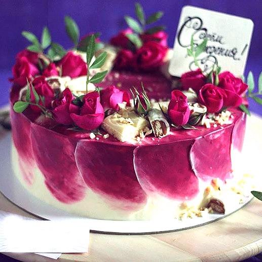 Украшение торта акварельная техника