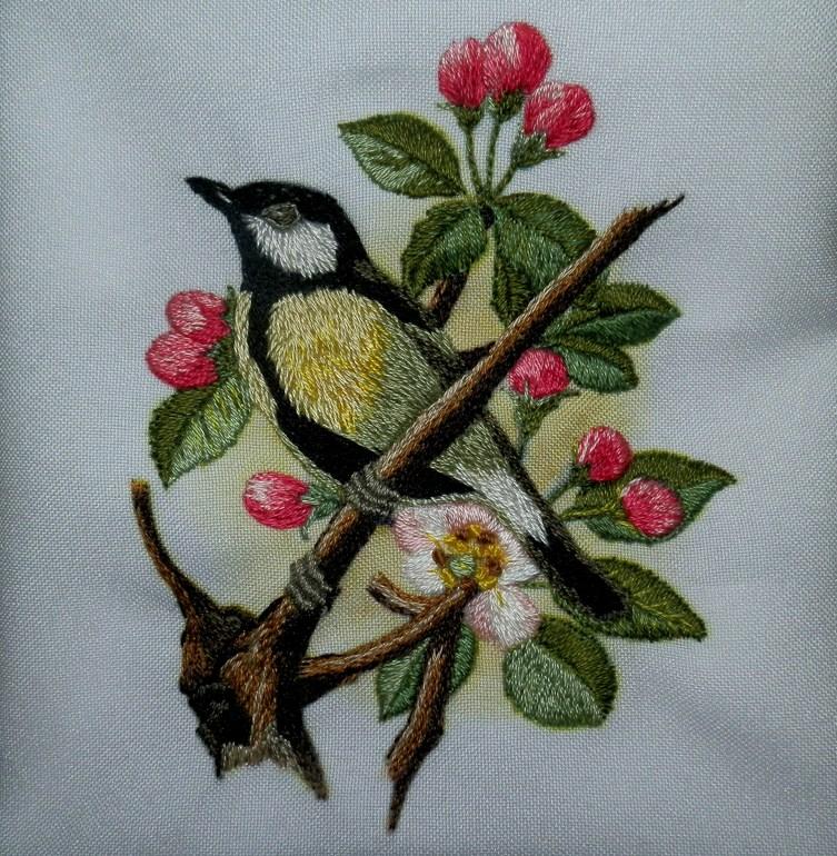 Схема вышивка гладью птичка