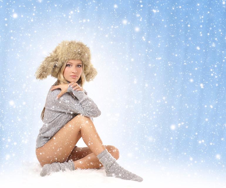 девушка блондинка снег girl blonde snow бесплатно