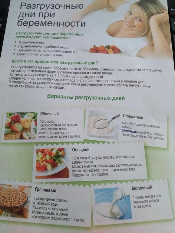Меню разгрузочная диета для беременных
